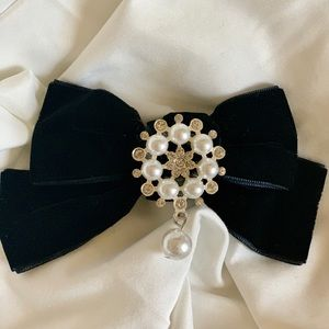 Velvet Bow Tie Barrette